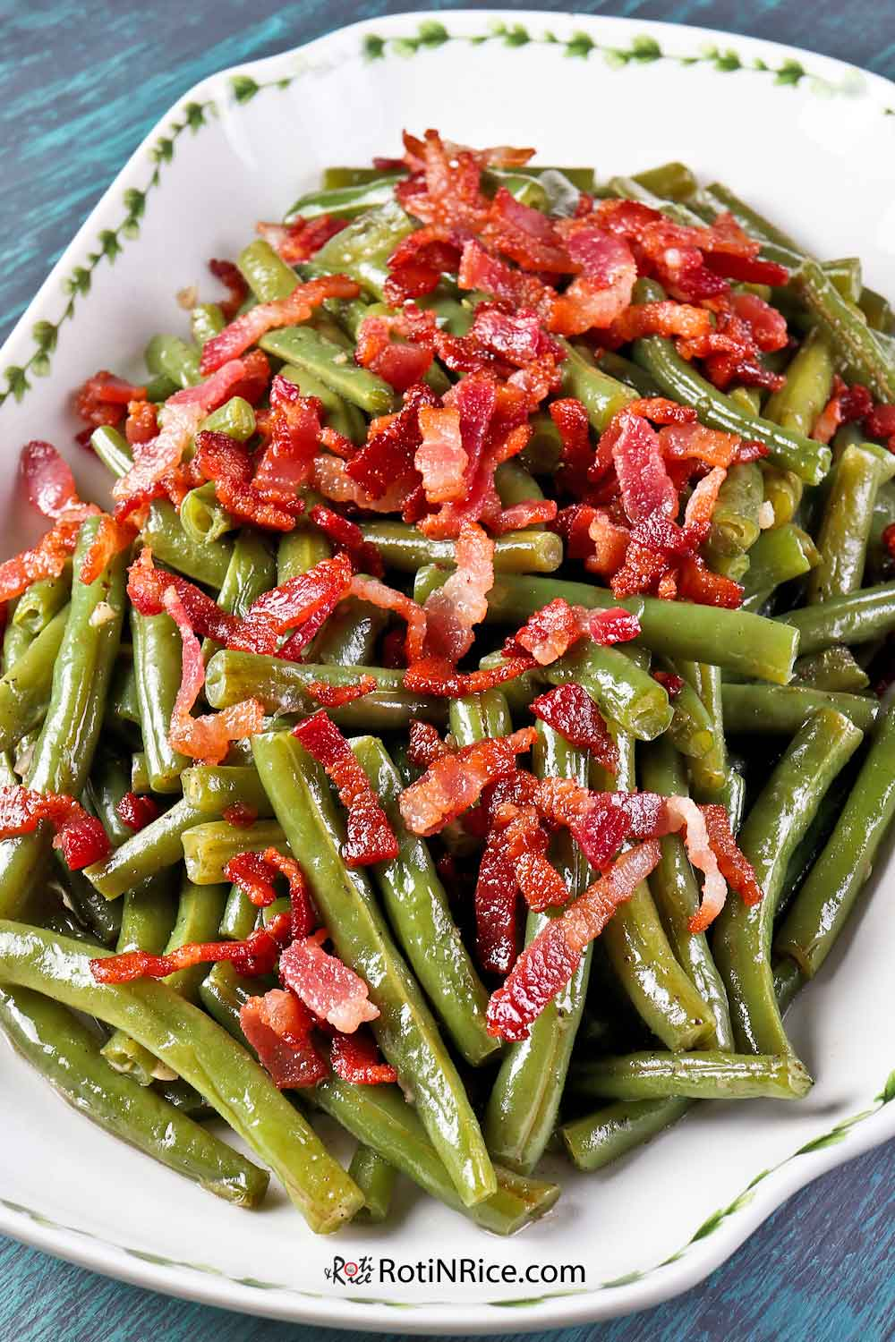 Tender and delicious Green Beans with Bacon.