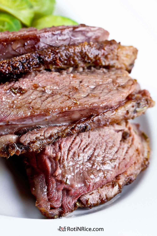 Juicy and tender slices of Roast Lamb.