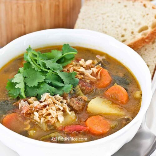 Deliciously hearty Sup Kambing (Mutton/Lamb Soup) seasoned with spices.