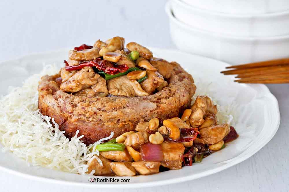 Yam Ring filled with quick and easy Kung Pao Chicken.