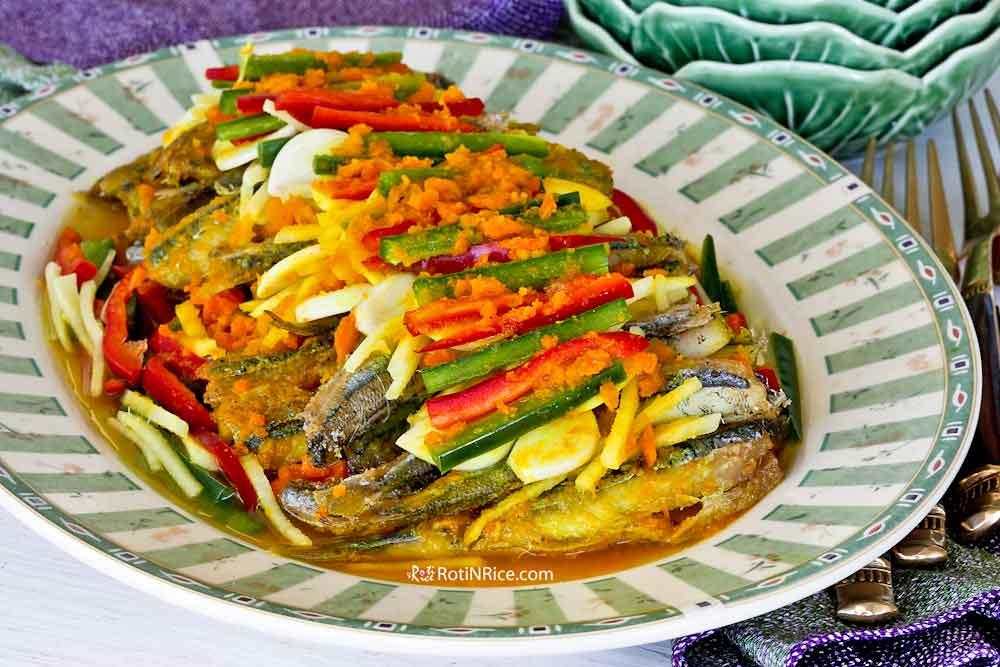 Nyonya Acar Fish (Acar Hu) with fresh turmeric vinaigrette.