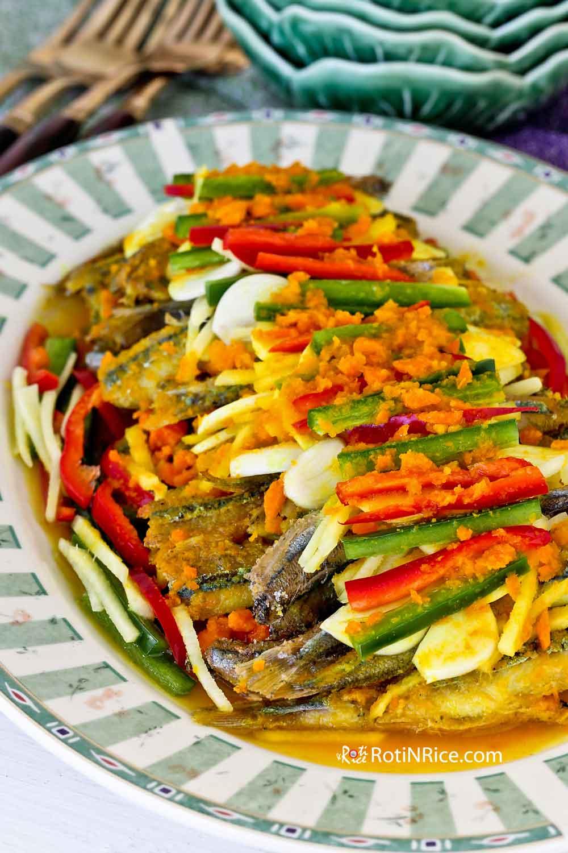 Nyonya Acar Fish (Acar Hu) with fried smelt.